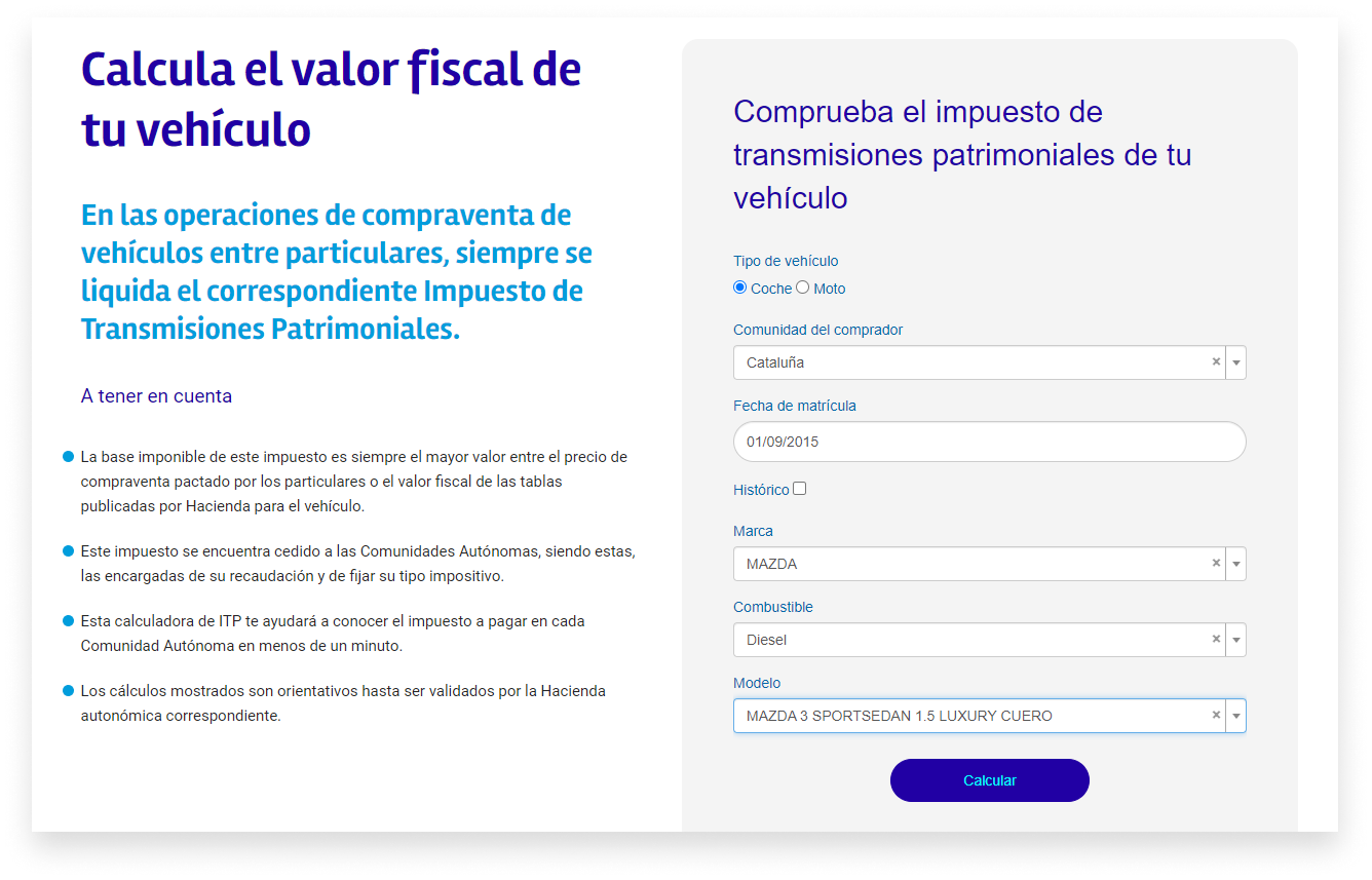 Formulario para calcular impuesto a partir de datos vehículo